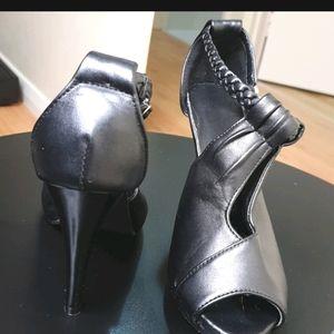High heeled peep toed sandals